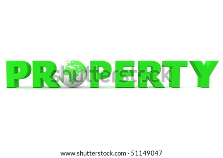 green word Property with 3D globe replacing letter O - stock photo