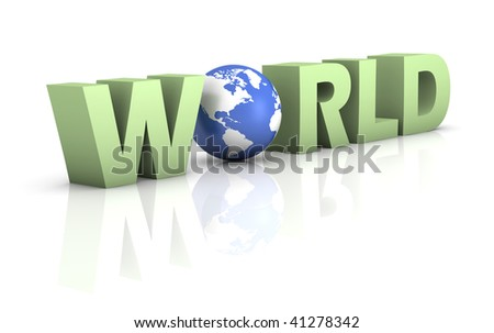 Green word world with a blue globe on a white background