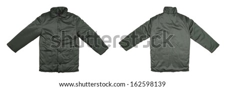 Green working jacket front back. Isolated on a white background. - stock photo