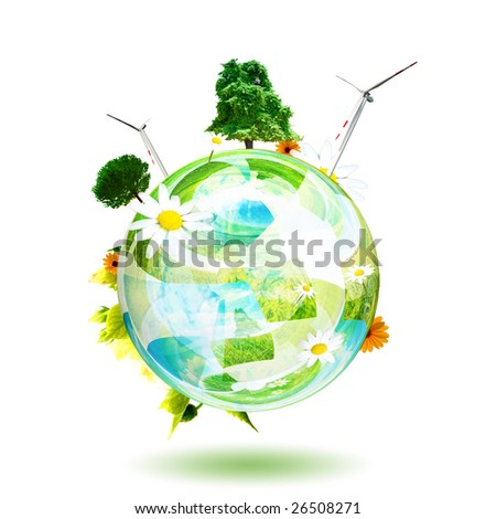 Green world concept. Aerogenerator, tree and flower are the subjects of this image - stock photo