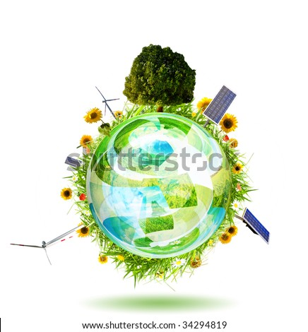 Green world concept with Aerogenerator, solar panel and sunflower - stock photo