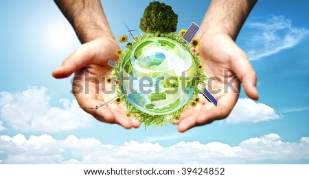 Green world concept with aerogenerator, solar panel and turbine - stock photo