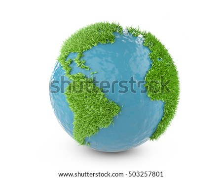 Green world concept with continents covered grass. Isolated on white background 3d illustration.