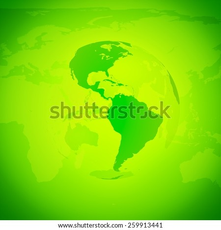 Green World Globe. North and south America. - stock photo