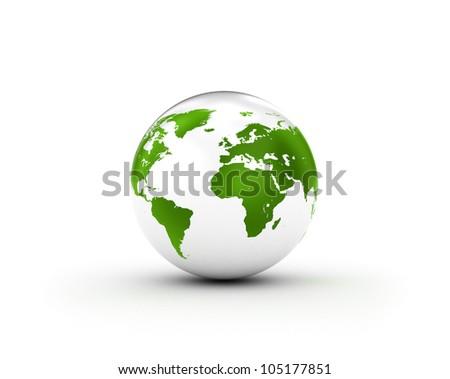 Green world globe on glossy white sphere - stock photo
