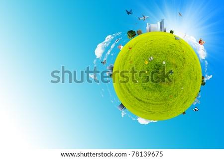 Green world made of grass - stock photo