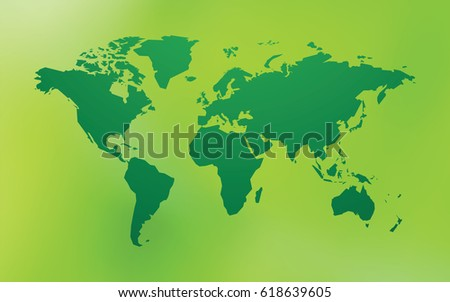 Green Illustrated World Map Blue Background Stock Vector - Bokeh us map