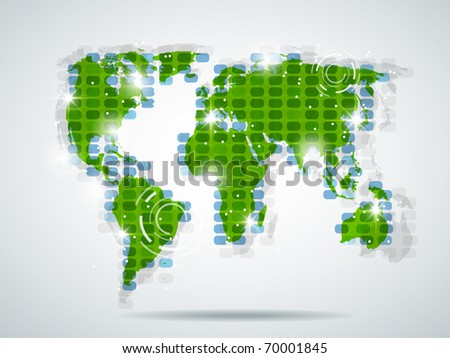 Green world map with bright light - stock photo