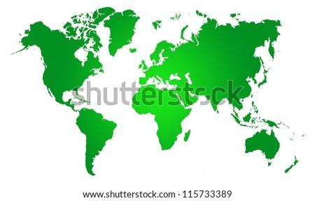 Green  World Map, World background - stock photo