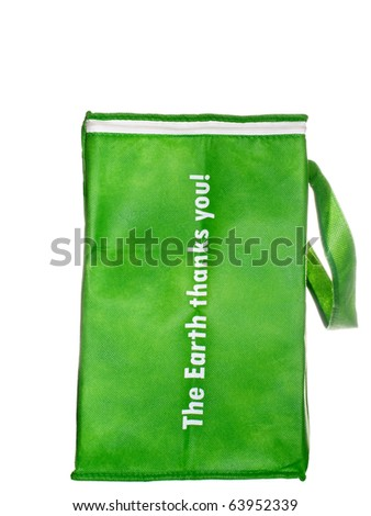 Green, woven paper,  reusable grocery shopping bag, white iso. - stock photo