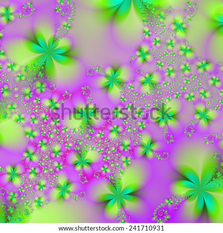 Green Yellow and Pink Abstract Flowers / A digital abstract image with a green and yellow flower design on a pink background - stock photo
