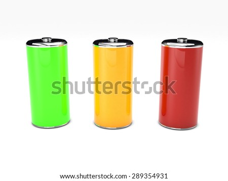 green, yellow and red battery 3D rendered on white background