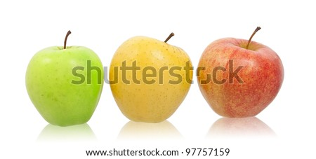 Green, yellow and red natural apples. Isolated on white background. - stock photo