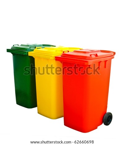 Green yellow and red  recycle bins Isolated - stock photo
