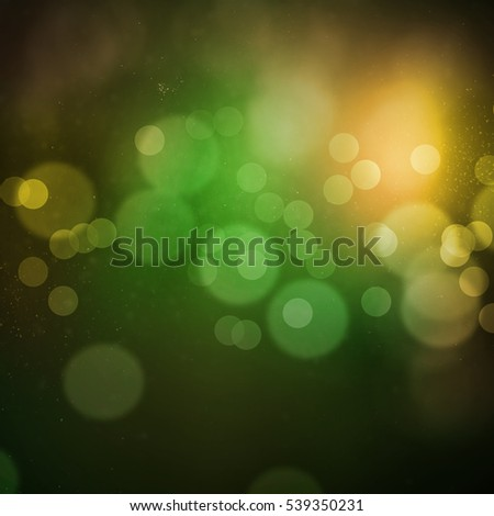 Green yellow bokeh with dust, glitter, sparkles