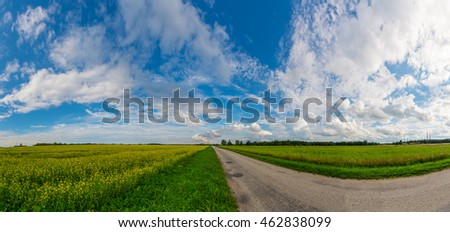 Green, yellow field forest and clouds on blue sky in summer, sunny day. Good weather. Magical, fantastic panoramic landscape place.