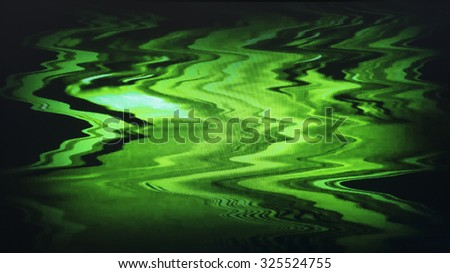 Green yellow interlaced tv screen static noise, vignette abstraction background backdrop - stock photo