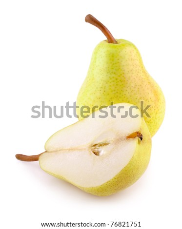 Green yellow pears isolated on white - stock photo