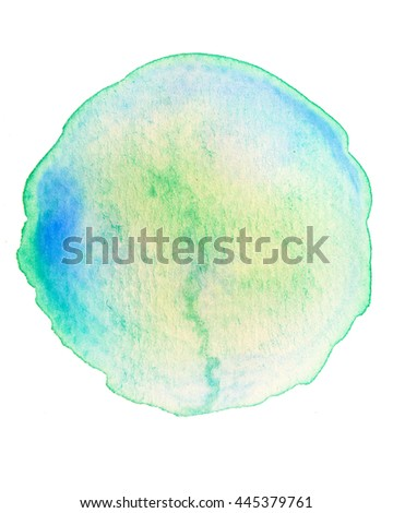 Green yellow round circle watercolor isolated on white background