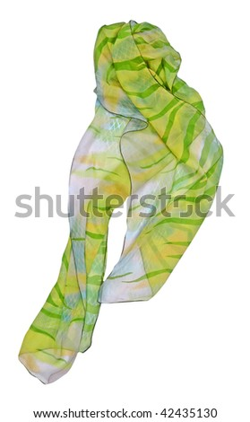 green yellow strip silk scarf - stock photo