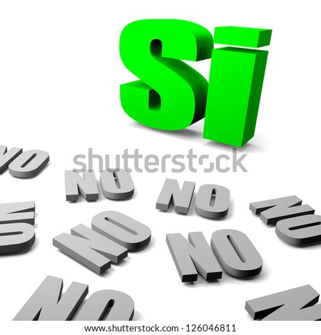 Green yes between gray no italian and spanish text, thinking different concept 3d illustration - stock photo