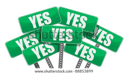 green yes signs illustration design on white background - stock photo
