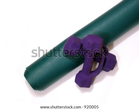 Green Yoga Mat and Purple Weights
