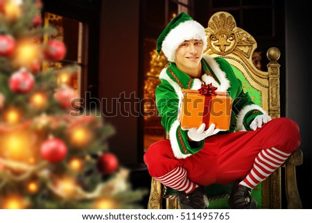 green young elf and xmas time
