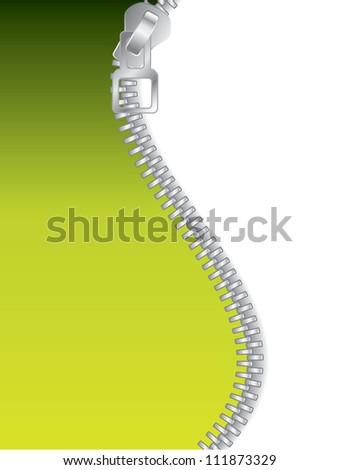Green zippered background - stock photo