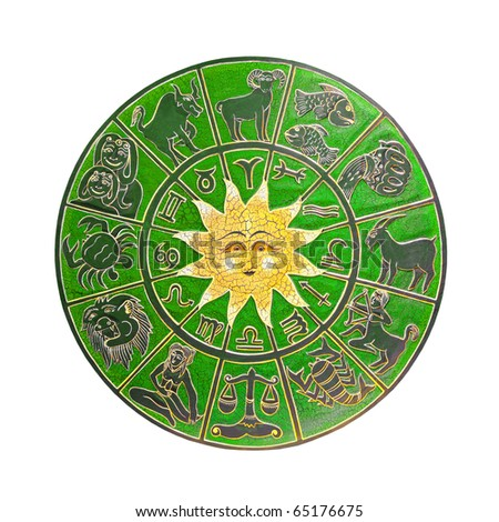 Green zodiac wheel with clipping path included - stock photo