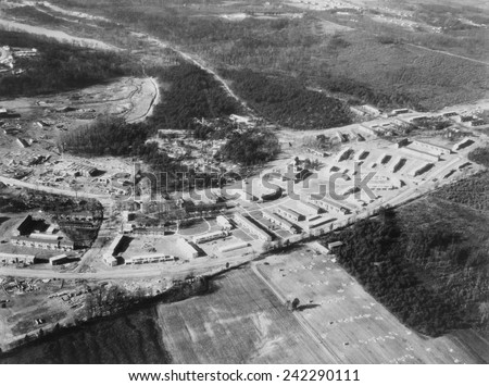Greenbelt, Maryland, first model community planned by New Deal's programs authorized by the Federal Emergency Relief Act, signed on May 12. 1933, Photo of the completed housing taken in March 1937. - stock photo