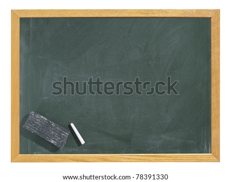 Greenboard / chalkboard / blackboard with eraser and chalk traces - stock photo