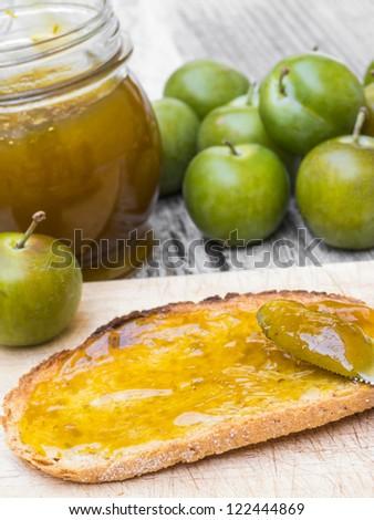 Greengage jam breakfast with decoration - stock photo
