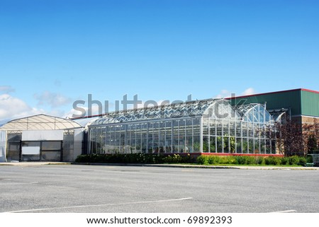 Greenhouse and nursery of a large hardware store. - stock photo