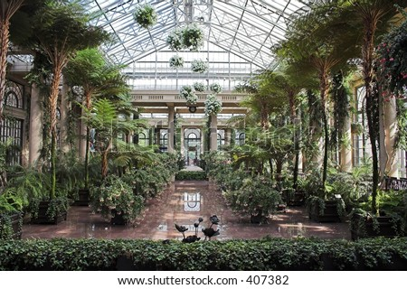 greenhouse ceiling Conservatory longwood gardens - stock photo