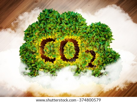Greenhouse gas concept. 3D computer generated image. - stock photo