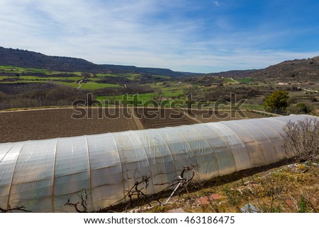 Greenhouse in the fields of the region of Cuenca, Spain