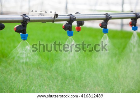 Greenhouse watering system in action - stock photo