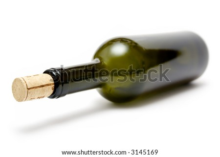 Greenish Wine Bottle - stock photo