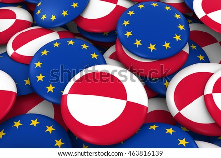 Greenland and Europe Badges Background - Pile of Greenlandic and European Flag Buttons 3D Illustration