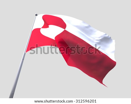 Greenland flying flag isolate on white background.