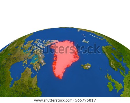 Greenland from Earth's orbit in space highlighted in red color. 3D illustration with highly detailed realistic planet surface. Elements of this image furnished by NASA.
