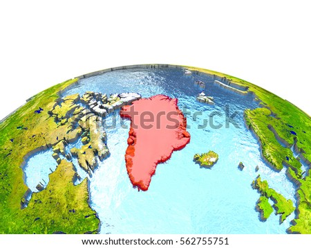 Greenland highlighted in red on globe with surrounding region. 3D illustration with highly detailed realistic planet surface. Elements of this image furnished by NASA.