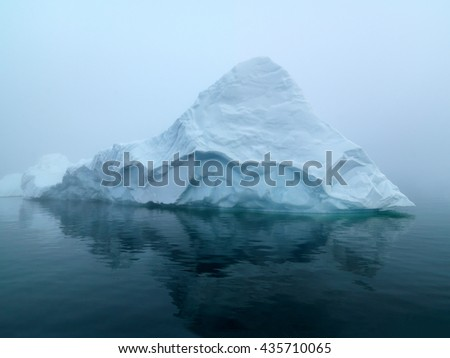 Greenland Ice and glacierIcebergs on arctic ocean in Ilulissat icefjord, Greenland. This iceberg shape as Shark. Weather was foggy when i was shot this image.  - stock photo