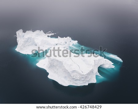 Greenland Ilulissat town with Icebergs and glacier - stock photo