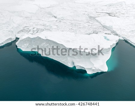 Greenland Ilulissat town with Icebergs and glacier
