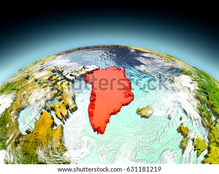 Greenland in red on model of planet Earth as seen from orbit. 3D illustration with detailed planet surface. Elements of this image furnished by NASA.