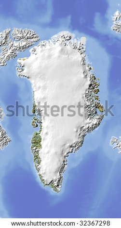 Greenland, shaded relief map. Colored according to vegetation. Includes clip path for the state boundary.