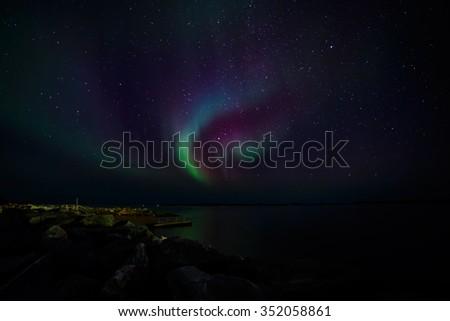 Greenlandic northern lights, nearby Nuuk, October 2015 - stock photo