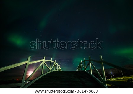Greenlandic northern lights, over Nuuk univercity, October 2015 - stock photo